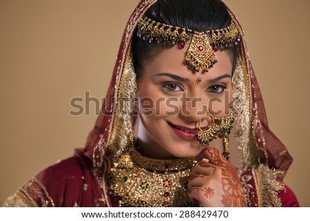 Portrait of a Gujarati bride