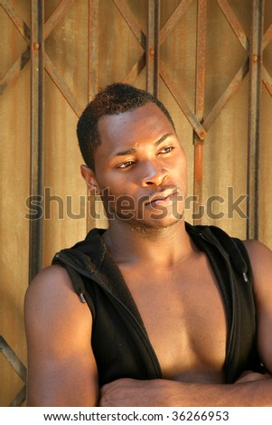 portrait of a handsome african american man - stock photo