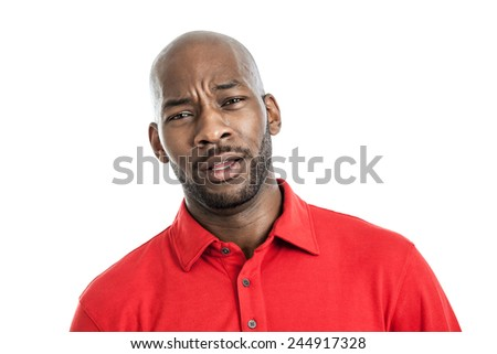 Portrait of a handsome black man with facial expression isolated on white background