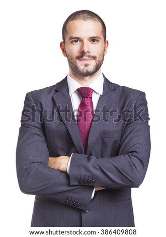 Portrait of a handsome business man, isolated on a white background - stock photo