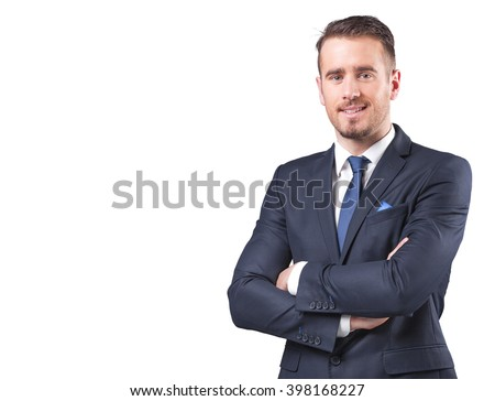 Portrait of a handsome businessman standing with arms crossed, isolated on white background