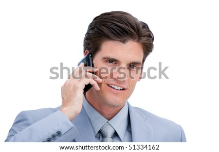 Portrait of a handsome businessman talking on phone against a white background