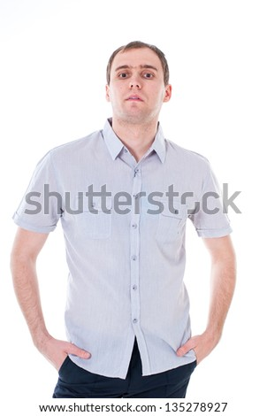 Portrait of a handsome casual mature man standing in shirt. portrait of happy handsome young businessman isolated on white background.
