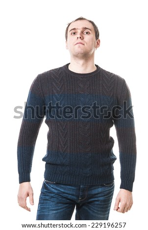 Portrait of a handsome casual mature man standing in sweater. Male sweater isolated on the white. young businessman isolated on white background.