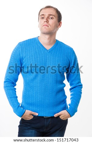 Portrait of a handsome casual mature man standing in sweater. portrait of happy handsome young businessman isolated on white background.