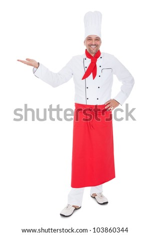 Portrait of a handsome cook. Isolated on white - stock photo