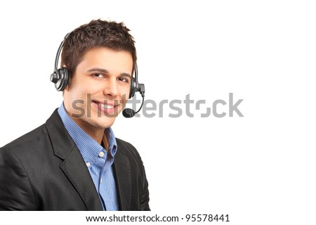 Portrait of a handsome customer service operator wearing a headset isolated on white background - stock photo