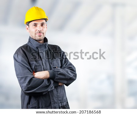 Portrait of a handsome engineer - stock photo