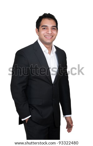 portrait of a handsome Indian businessman, Young Indian Businessman isolated on white