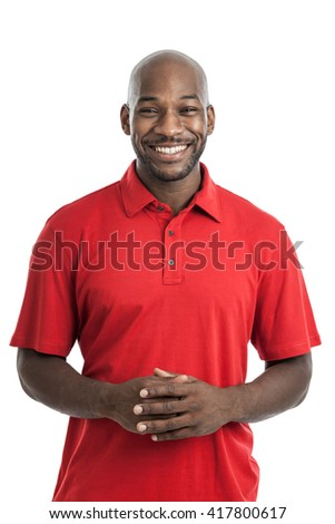 Portrait of a handsome late 20s black man isolated on a white background