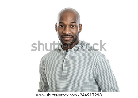 Portrait of a handsome late 20s black man isolated on white background - stock photo