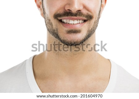 Portrait of a handsome latin man smiling, isolated on white background - stock photo