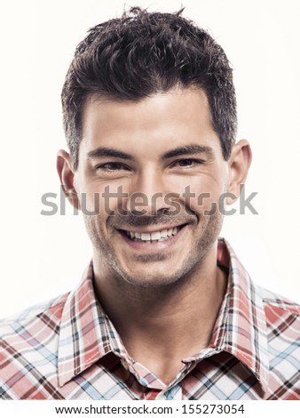 Portrait of a handsome latin man smiling, isolated over a white background - stock photo