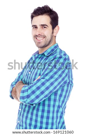 Portrait of a handsome latin man smiling, isolated over a white background