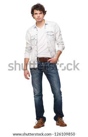 Portrait of a handsome man isolated on white background - stock photo