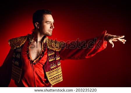 Portrait of a handsome man latino dancer. - stock photo
