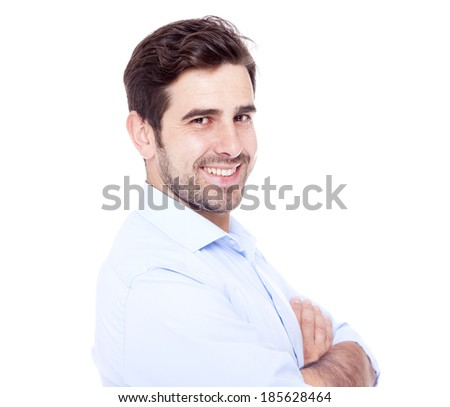 Portrait of a handsome man smiling, isolated on white