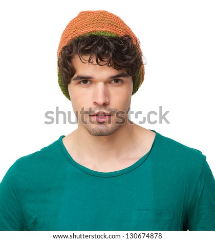 Portrait of a handsome man with hat - stock photo