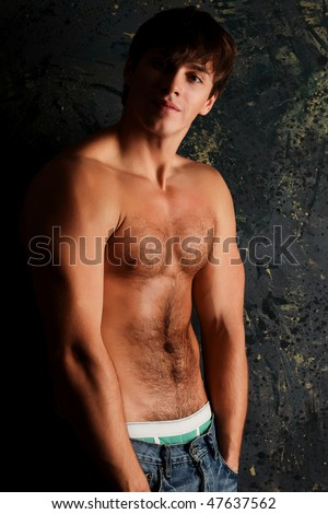 Portrait of a handsome muscular male model.