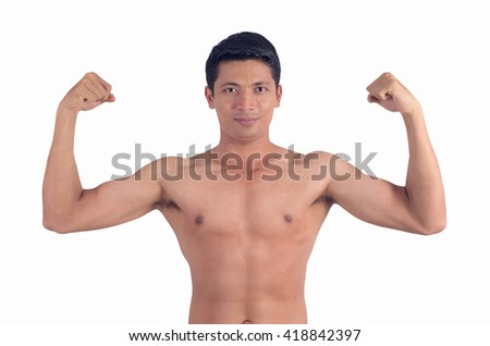 Portrait of a handsome muscular young man, Isolated on white with clipping path.