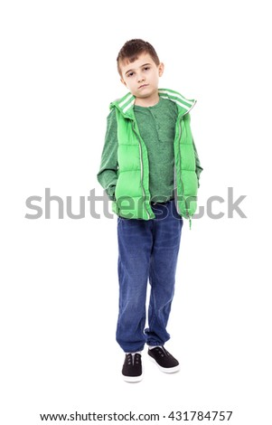 Portrait of a handsome school boy isolated on white background