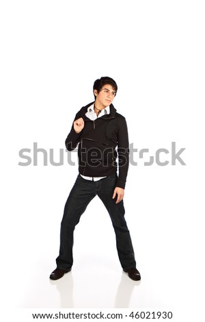 Portrait of a handsome smiling hispanic teenager - stock photo