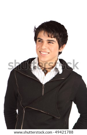 Portrait of a handsome smiling teenager. - stock photo