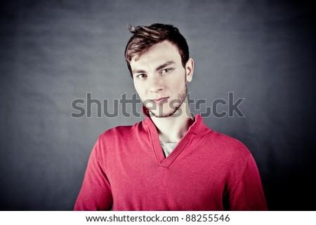 Portrait of a handsome stylish man - stock photo