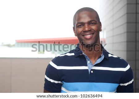 portrait of a handsome young African American male - stock photo