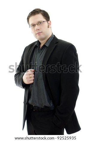 Portrait of a handsome young business man in glasses. Isolated on white background with copy space.