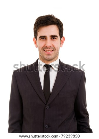 Portrait of a handsome young business man, isolated on white