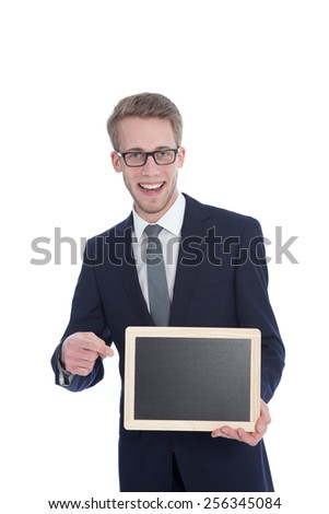 Portrait of a Handsome Young Businessman Holding an Empty White Small Board with Copy Space. Isolated on White