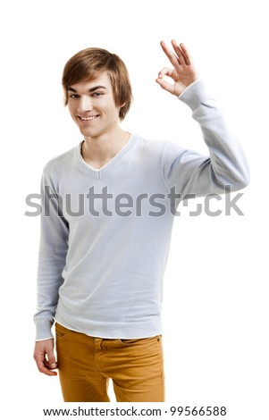 Portrait of a handsome young man doing a Okay gesture, isolated over a white background - stock photo