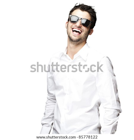 portrait of a handsome young man enjoying over white background
