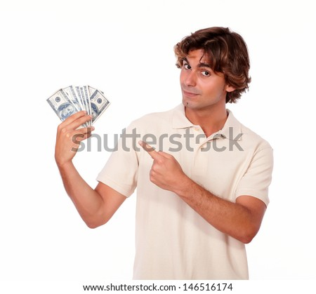 Portrait of a handsome young man holding cash money on white background - stock photo
