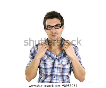 portrait of a handsome young man on white background - stock photo