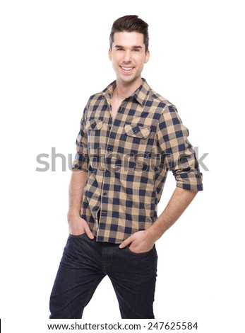 Portrait of a handsome young man smiling on isolated white background - stock photo