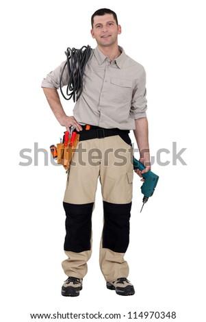 Portrait of a handyman - stock photo