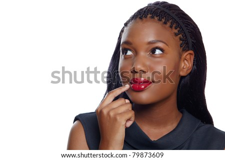 Portrait of a happy African American business woman with hand on face thinking on white background