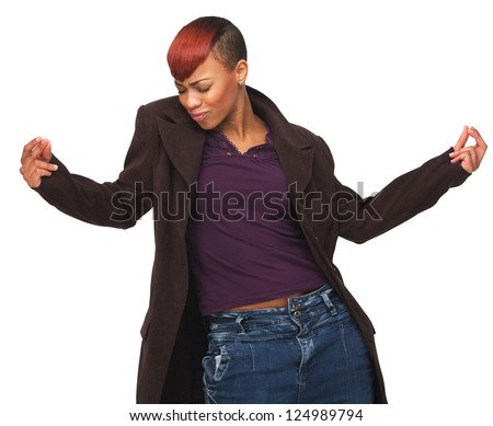 Portrait of a happy African American woman enjoying life - stock photo