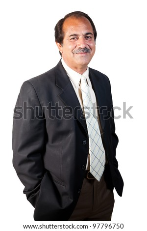 portrait of a happy and confident senior businessman isolated on white background