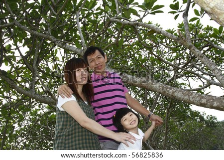 Portrait of a happy Asian family at a park