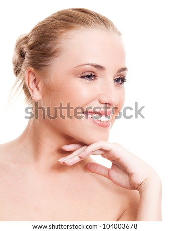 portrait of a happy beautiful smiling woman, isolated against white background - stock photo
