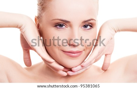 portrait of a happy beautiful smiling woman touching her face, isolated against white background