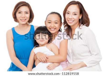 Portrait of a happy big family isolated against white background - stock photo