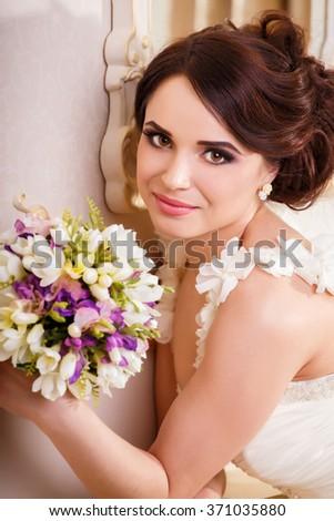 Portrait of a happy bride, close up shot  - stock photo