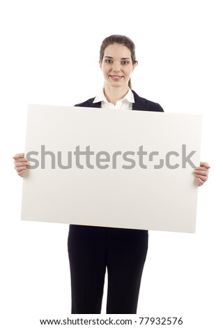 Portrait of a happy business woman holding a blank billboard over white background - stock photo