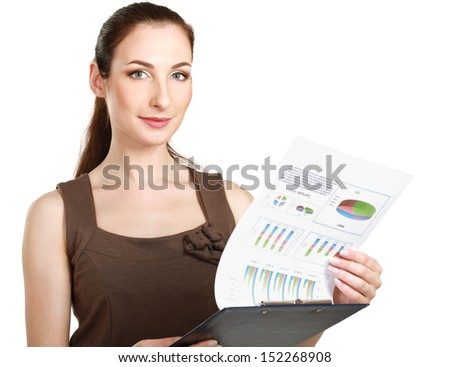 Portrait of a happy business woman holding a folder Isolated on white background