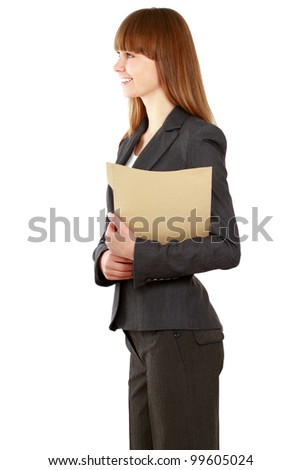 Portrait of a happy business woman holding a folder , Isolated on white background, side-view - stock photo