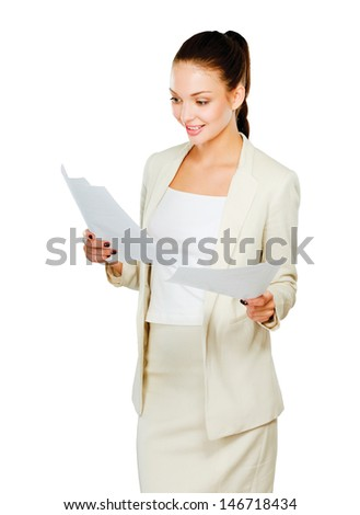 Portrait of a happy business woman holding papers,Isolated on white background - stock photo